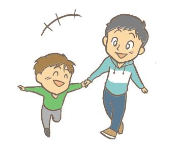 面会している子供と父親